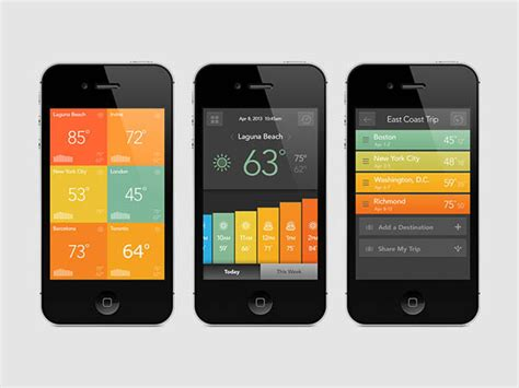 app layout tips 天气移动应用ui界面 2