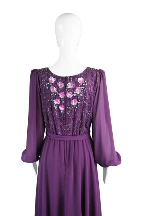 vintage beaded dresses for sale vintage beaded purple chiffon dress by bryan 1970s