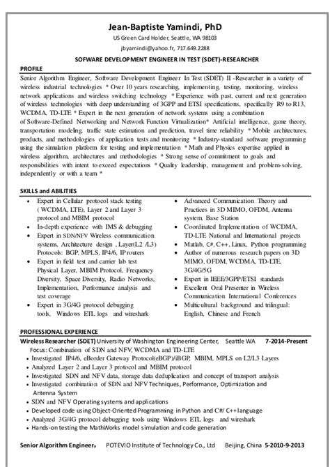 Resume Format For Phd Holders Dr Yamindi Resume 2016 For Wireless Researcher Or Engineer