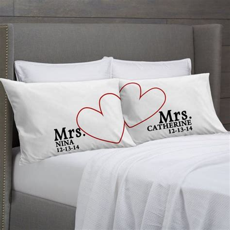 gifts for couples mrs and mrs personalized pillowcases gift