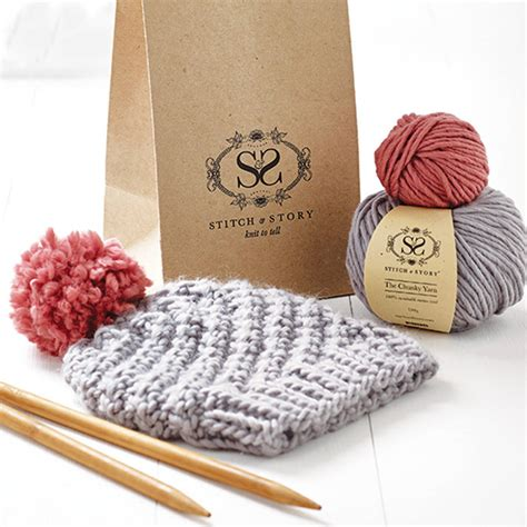 knitting kits for beginners knitting kit beginner s pom pom hat gift set by stitch