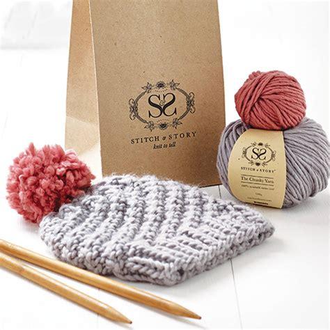 Knitting Kit Beginner S Pom Pom Hat Gift Set By Stitch