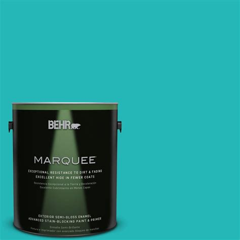 behr marquee 1 gal mq4 21 caicos turquoise semi gloss enamel exterior paint 545401 the home