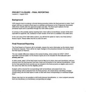 closure report template project closure report template 8 documents in pdf word
