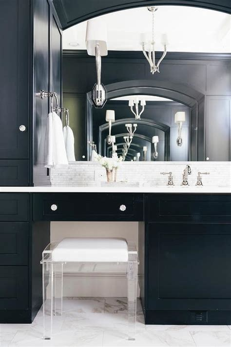 black master bathroom black master bathroom black bath vanity with lucite stool