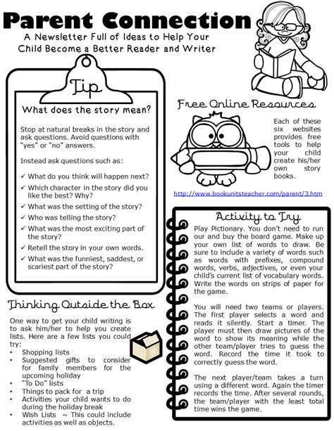 Parent Connection Newsletter Issue 3 Book Units Teacher Writing A Newsletter Template