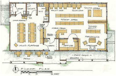 floor plan of a library building project for stanley library