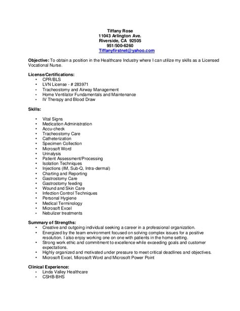 lvn resume template lvn resume