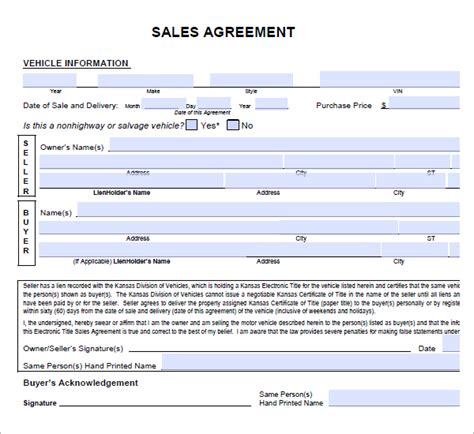 sample agreement letters 5 vehicle purchase agreement letters