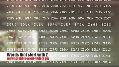 scrabble words ending with za words that start with z