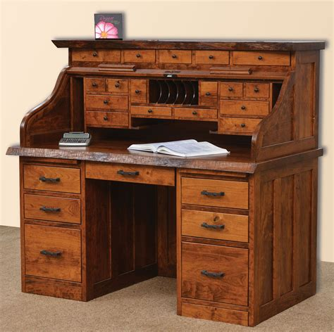 amish roll top desk amish live edge roll top desk rustic cherry