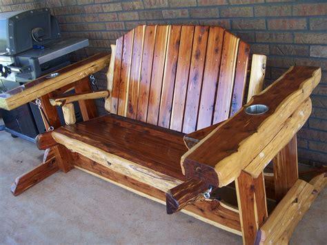Handmade Cedar Furniture - custom made rustic cedar glider swing by west