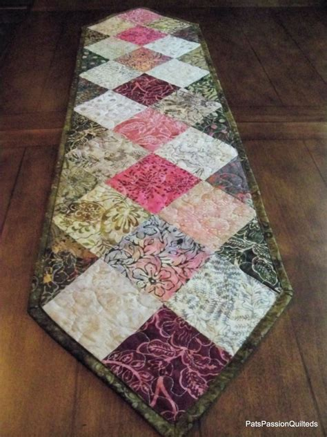 Patchwork Table Runner - batik patchwork quilted table runner greens pinks