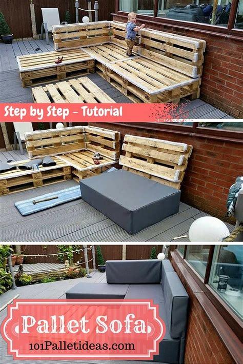 diy pallet sofa tutorial diy pallet sectional sofa tutorial 101 pallet ideas