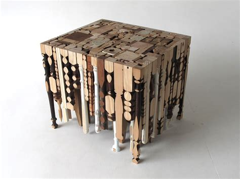 things made out of recycled materials eking it out table is made out of recycled table legs