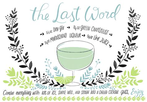 mixed drink recipe cards template for word friday happy hour the last word