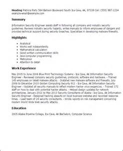 It Security Engineer Sle Resume by Professional Information Security Engineer Templates To Showcase Your Talent Myperfectresume