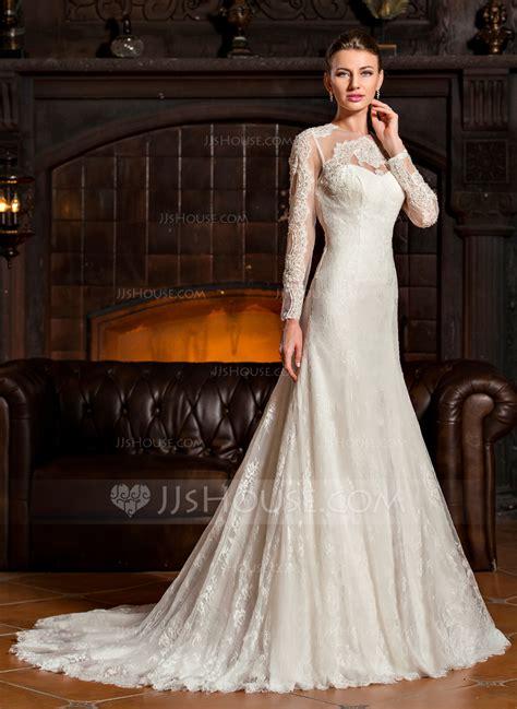 Sweep Wedding Dress by Trumpet Mermaid Scoop Neck Sweep Tulle Lace Wedding