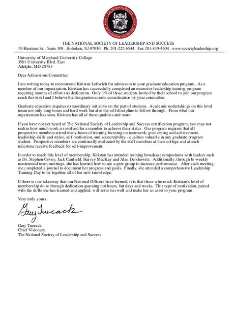 Letter To Mba Admissions Committee by Graduate Studies Recommendation Letter