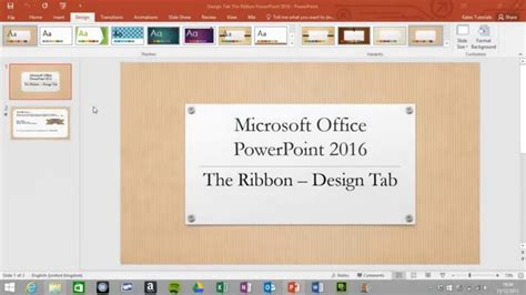 design powerpoint 2016 design tab on the ribbon in microsoft powerpoint 2016