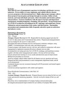 Disaster Recovery Specialist Sle Resume by Disaster Recovery Manager Free Resumes