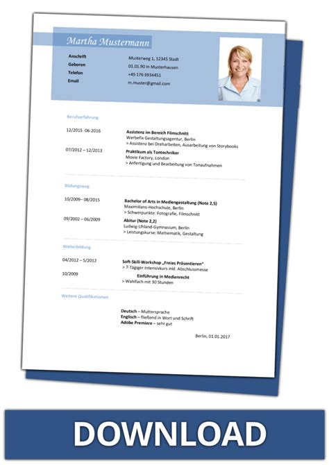 Lebenslauf Muster 2016 Word Datei by Lebenslauf Vorlagen Kostenlos Downloaden Als Word Dateien