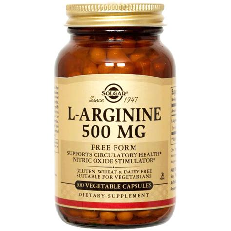 l arginine vegetables l arginine 500 mg 250 vegetable capsules solgar day of