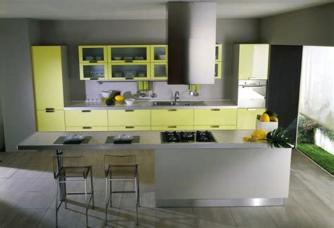 interior decoration for kitchen modern yellow and grey kitchen ideas