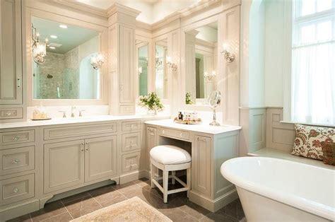 bathroom vanity traditional traditional gray bathroom with make up vanity