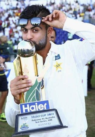 ahmed shehzad with trophy after winning pak vs aus test series