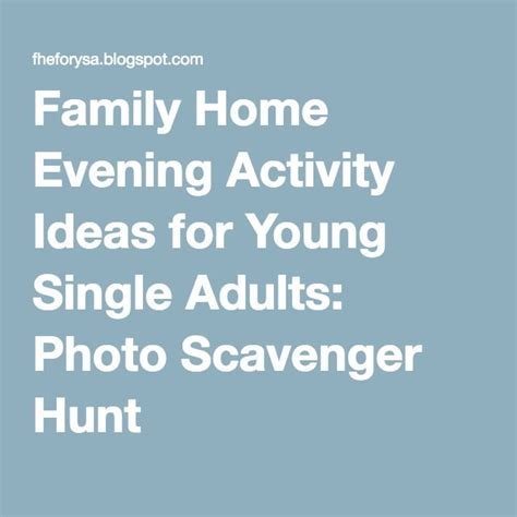 family home evening activity ideas for single adults