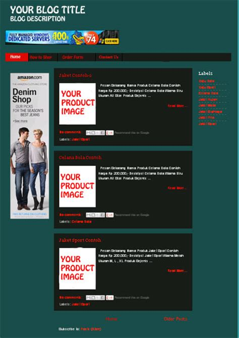 create online store with blogger default template
