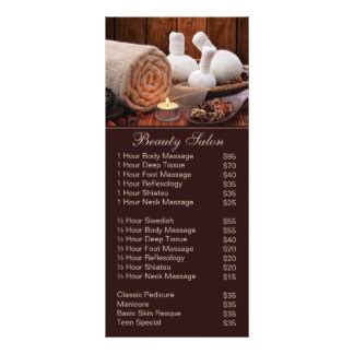 spa menu card template salon service menu rack card templates salon service menu