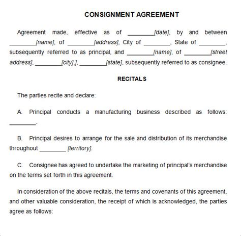 consignment contract template 6 free word pdf