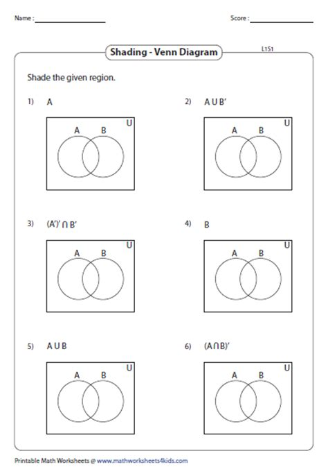 sets shading venn diagrams venn diagram worksheets
