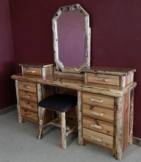 Rustic Vanity Table Cedar Log Makeup Desk Barn Wood Furniture Rustic Barnwood And Log Furniture By Vienna Woodworks