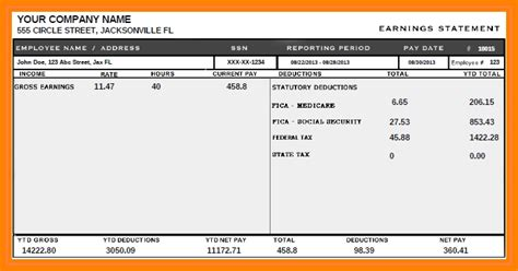 9 Printable Paycheck Stubs Sles Of Paystubs Sle Check Stub Template