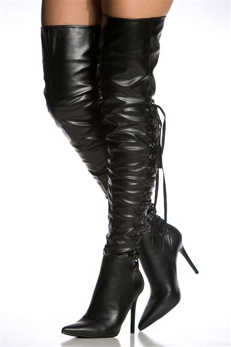thigh high black heels black faux leather thigh high pointy boots cicihot heel