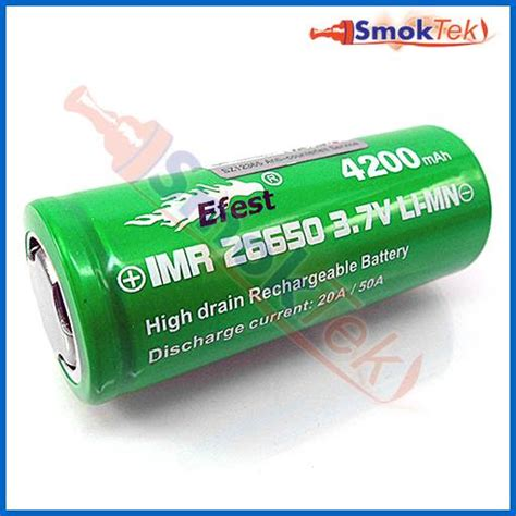 Diskon Efest Imr 26650 Battery 4200mah 3 7v 50a With Flat Top efest imr26650 4200mah 3 7v 20a high drain battery flat top smoktek