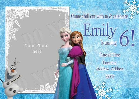 personalized photo invitations cmartistry frozen anna
