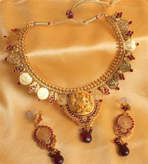 buy crystal jewelry sets onlinelaxmi coin setsearrings buy stunning beautiful ruby antique gold plated lakshmi
