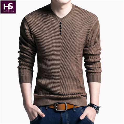 Fashion Sweater Pria Sw365 solid color pullover v neck sweater sleeve shirt mens sweaters wool casual dress