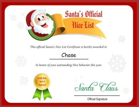 free printable letter from santa claus uk free printable santa letters nice list certificate from