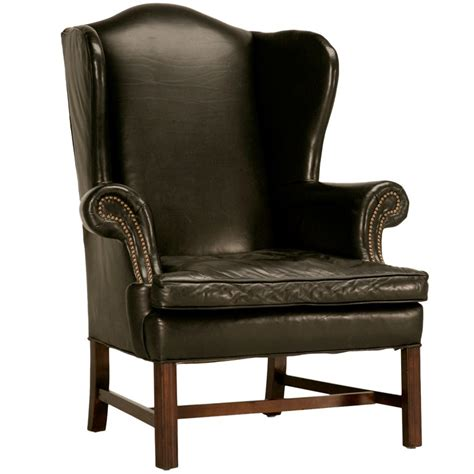 vintage wingback chair classic vintage chippendale style black leather wingback