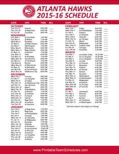 printable hawks schedule nba basketball teams 2016 schedules on pinterest