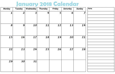 printable monthly planner january 2018 january 2018 calendar