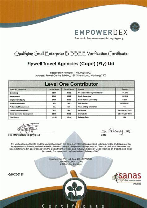 bee certificate flywell
