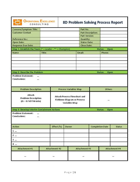 8d problem solving process report template word