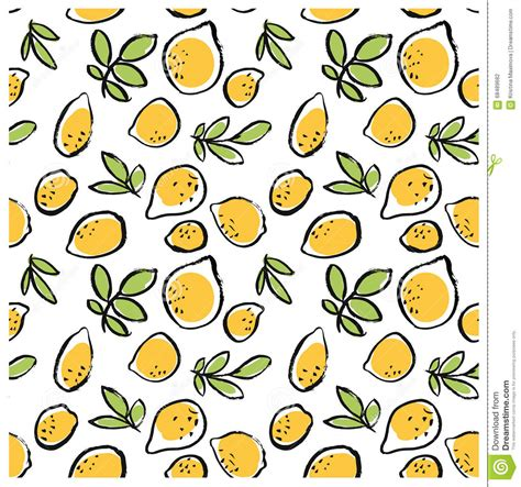 black ink doodle isolated lemon seamless