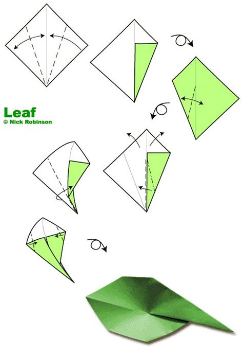 Simple Origami Leaf - http www nickrobinson info origami images diagrams leaf